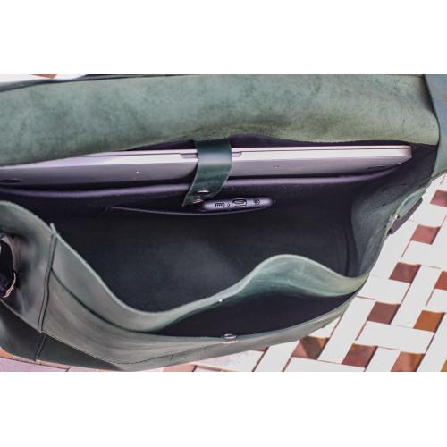 Зеленая сумка из натуральной кожи