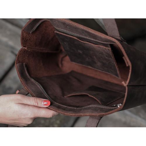 Коричневая кожаная сумка ручной работы