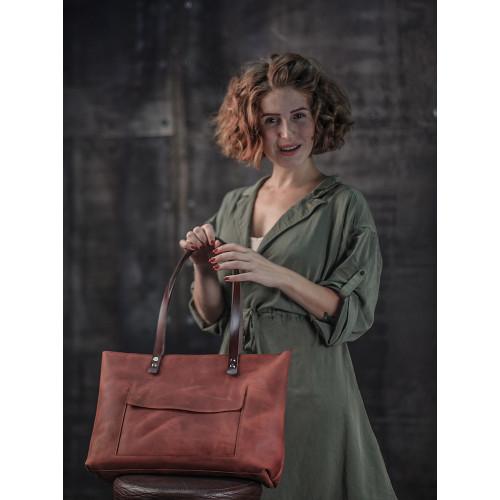 Рыжая сумка из натуральной кожи